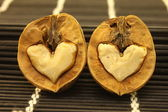 Two nuts with abstract hearts for Valentine's Day — Stock Photo