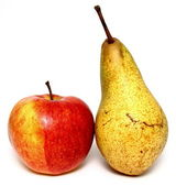 Juicy apple and pear on white background — Stock Photo