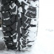 Studded snow tires in winter — Stock Photo #9446889