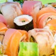 Close up of colorful sushi with raw fish — Stock Photo