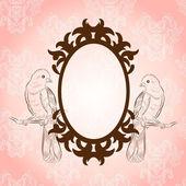 可爱的小鸟美丽复古框架 — 图库矢量图片