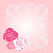 Söt rosa rosa ram — Stockvektor