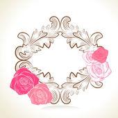 γλυκό τριαντάφυλλο ροζ πλαίσιο — Διανυσματικό Αρχείο