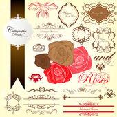 Classic roses calligraphy vintage design elements — Stok Vektör