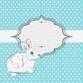 Söt vintage bunny ram kort — Stockvektor