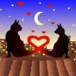 Couple of cats on Valentine day — Vector de stock