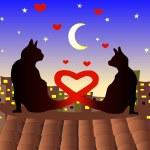 两只猫在情人节上 — 图库矢量图片