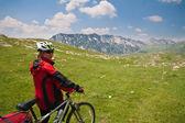 Frau mit mountainbike — Stockfoto