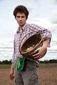 Young handsome farmer — Stock Photo