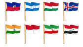 Hand-drawn Flags of the World - letter H & I — Stock Photo