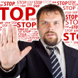 Man denies gesture. Background with the words Stop — Stok fotoğraf