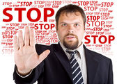 Man denies gesture. Background with the words Stop — Stock Photo