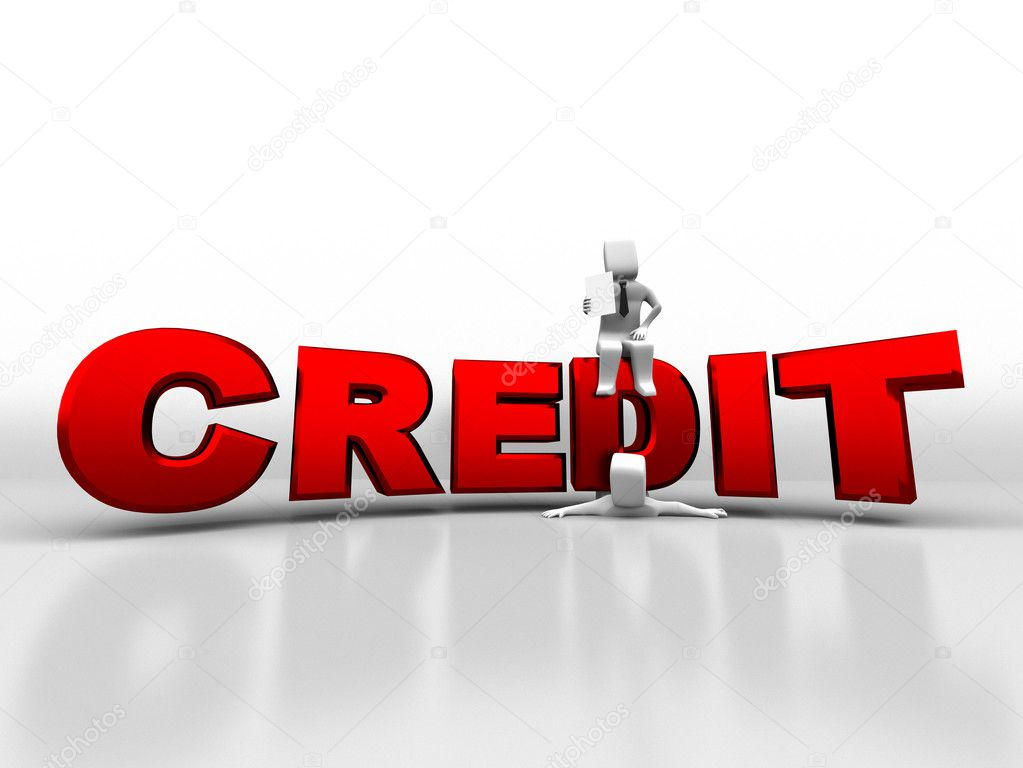 3d person sitting on credit pushes the debtor  Stock Photo #9570825