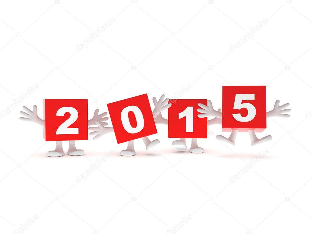 2015 году календарь фон - счастливый красных кубиков с руки вверх.