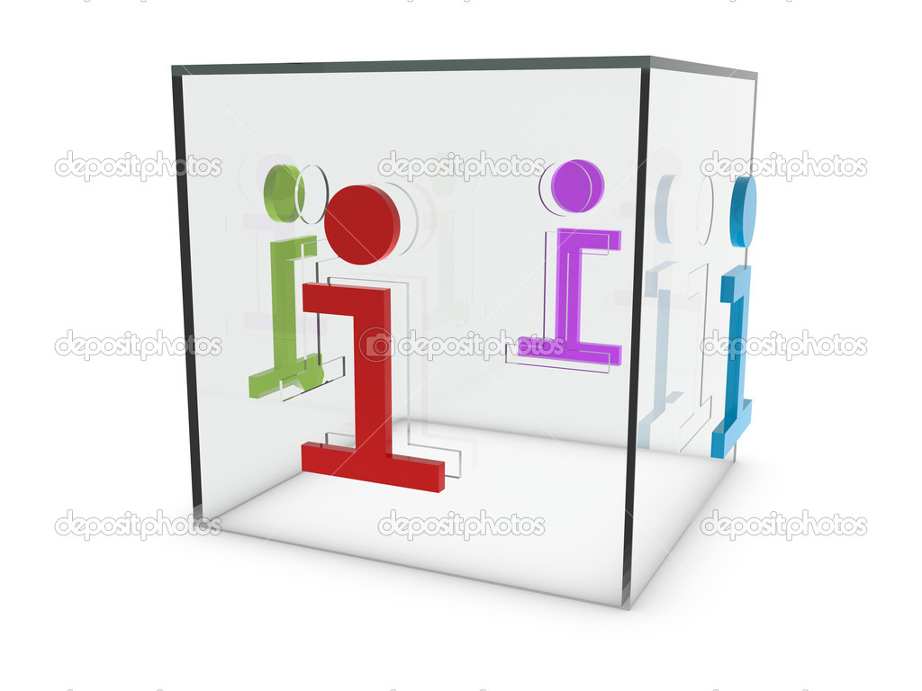 Glass info box that has four i cuts on white background — Stock Photo #8934429