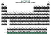 Actinide elements in the periodic table of the elements — Foto Stock