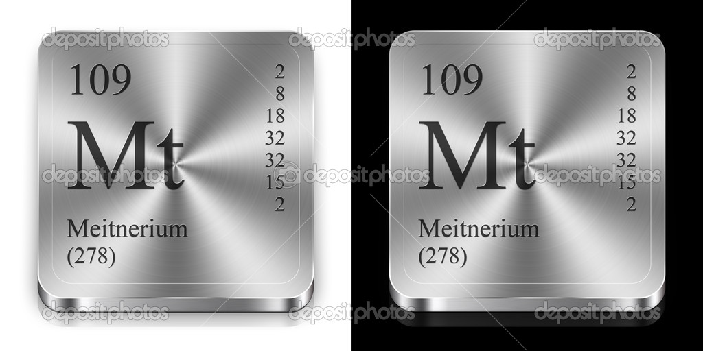Meitnerium, two metal steel web buttons — Stock Photo #9624000