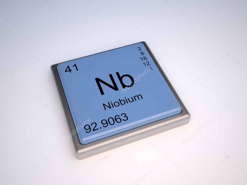 Niobium chemical element of the periodic table with symbol Nb — Stock Photo #9624121
