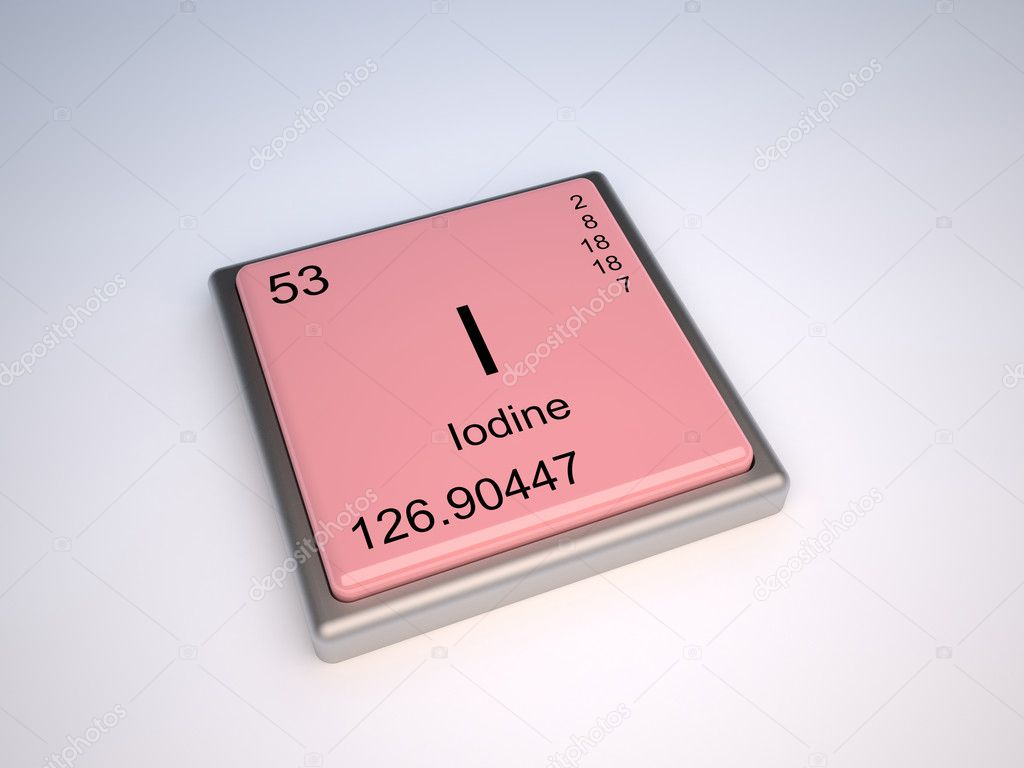 Iodine chemical element of the periodic table with symbol I — Stock Photo #9624170