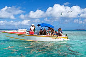 Blue lagoon and Poti Marara boat — Stock Photo
