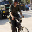 German soldier on bicycle — Stock Photo