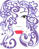 Stylized woman's face — Stock Vector