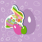 Easter bunny and eggs — Stock Vector