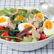 Nicoise salad and serving tools — Stock Photo #10111083