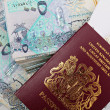 Qatar cash and passport — Stock Photo