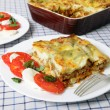 Lasagne verde and caprese salad - Stockfoto