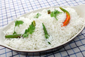 Basmati rice with cilantro and chillis — Stock Photo