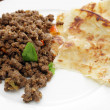 Beef keema curry and paratha - Stock Photo