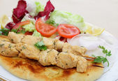 Chicken tikka kebab meal side view — Stock Photo