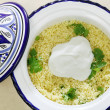 Couscous with yoghurt high angle — Stock Photo #10587949