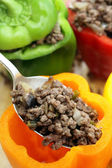 Stuffing colourful peppers vertical — Stock Photo