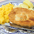 Homemade pie with swede and potato - Stock Photo