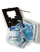 Euro money financial trap vertical — Stock Photo