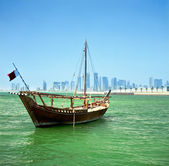 Dhow and Doha skyline — Stock Photo
