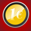 Royalty-Free Stock Vektorfiler: 1 euro coin on curtain background