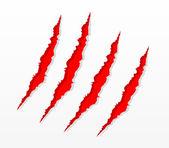 Rayures de la griffe rouge — Vecteur