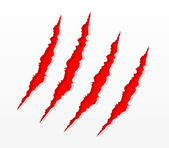 Red claw scratches — Stockvector