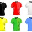 Stock Vector: Black and white men polo shirts and t-shirts.