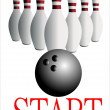 White skittles and black ball on white background, bowling — Stock Vector