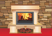 Fire place in living room — Stockvector