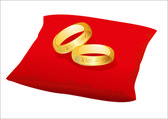 Gold wedding rings on red satin pillow, vector — Stock Vector