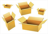 Cardboard boxes isolated on white — Stock Vector