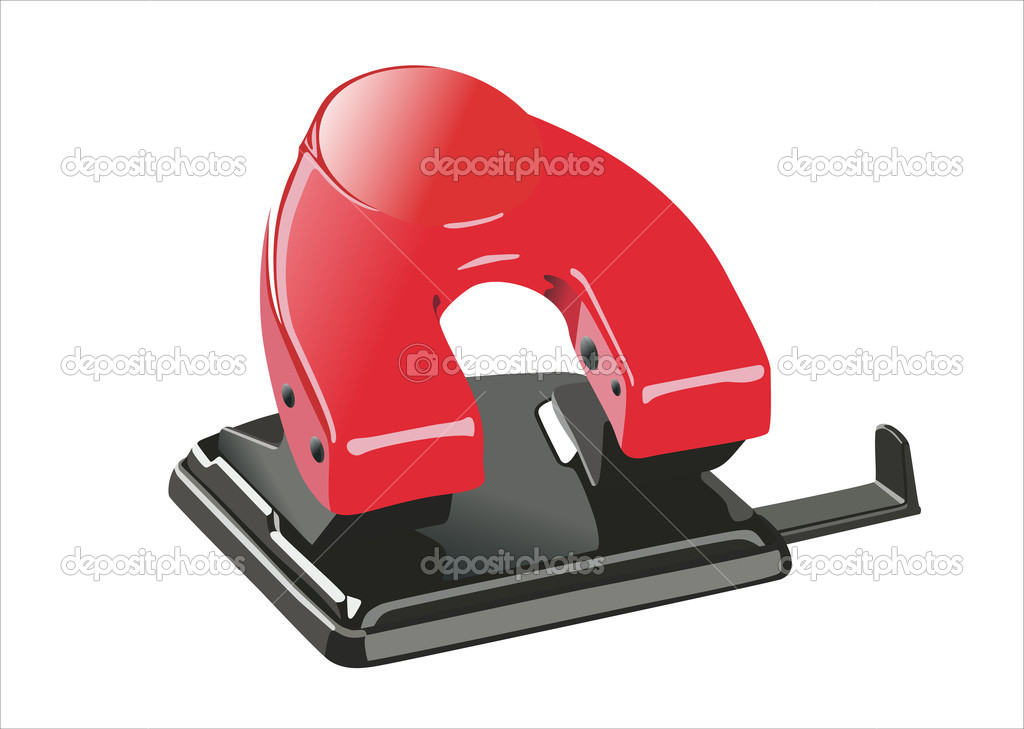 Red office paper hole puncher, isolated on white — Stock Vector #10138897