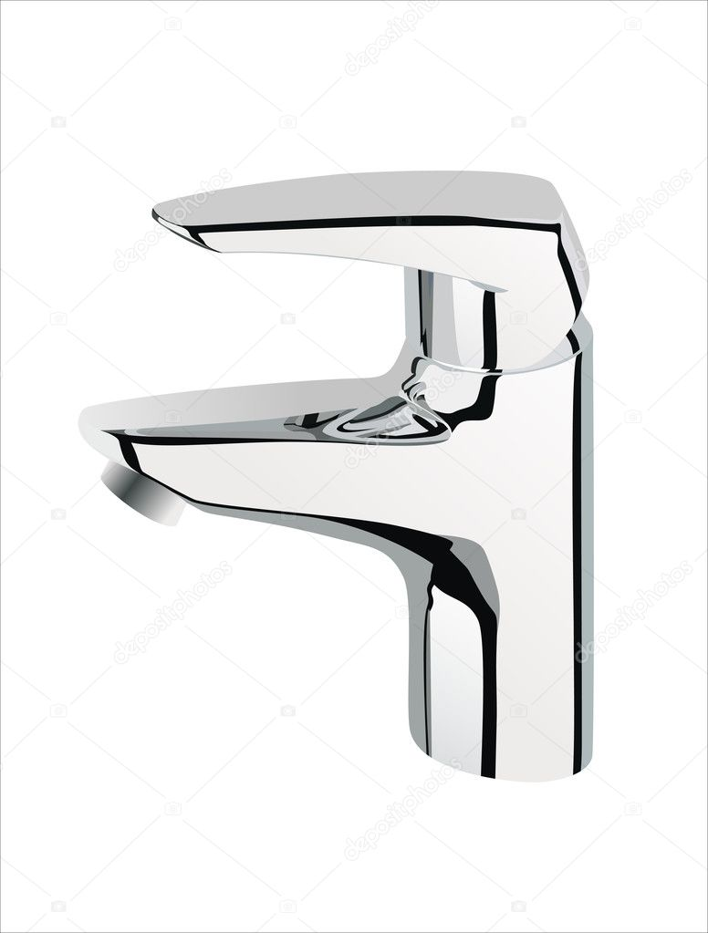 Silver metallic water tap on white background, — Stock Vector #10138926