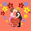 Valentine's day Illustration with cute little girl and boy — Stock Vector