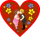 Valentine's day Illustration with cute little girl, boy and hearts — Stock vektor